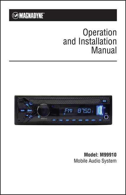 Magnadyne M9910 | Operation & Installation Manual