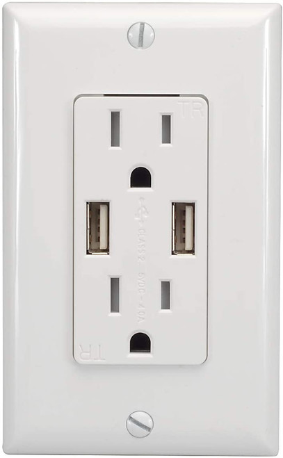 Magnadyne WC-501W | Dual USB Charging/Dual AC Wall Outlet - Front View