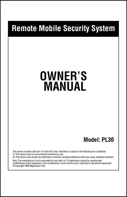 Carbine PL30 | Owner's  Manual