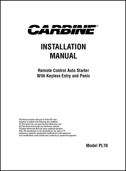 Carbine PL70 | Installation Manual
