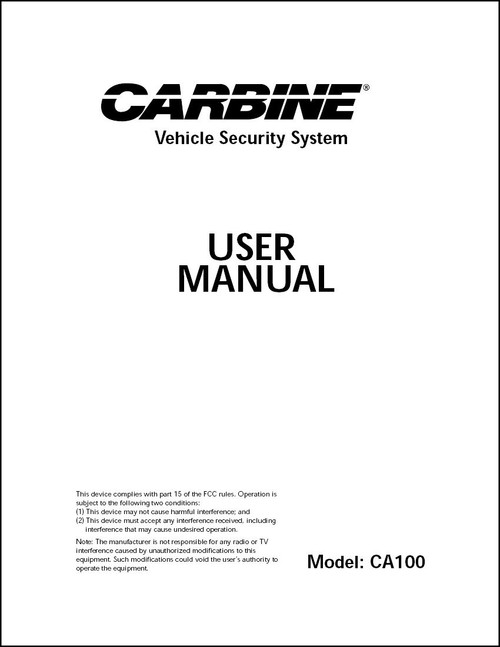 Carbine CA100 | User Manual