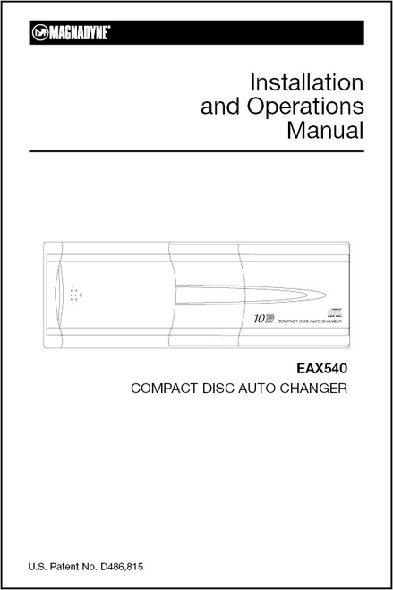 Magnadyne EAX540 | Installation and Operations Manual