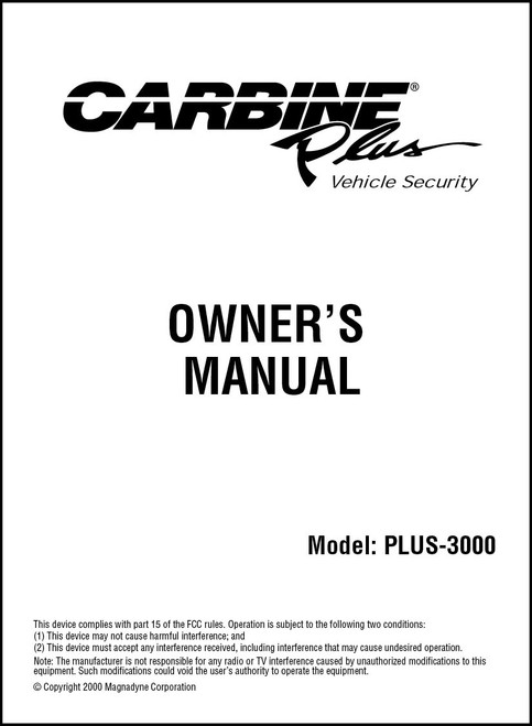 Carbine PLUS 3000 | Owner's Manual