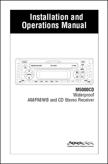Aquavibe M5000CD | Installation and Operations Manual