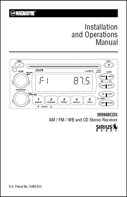 Magnadyne M9900CDS | Installation and Operation Manual