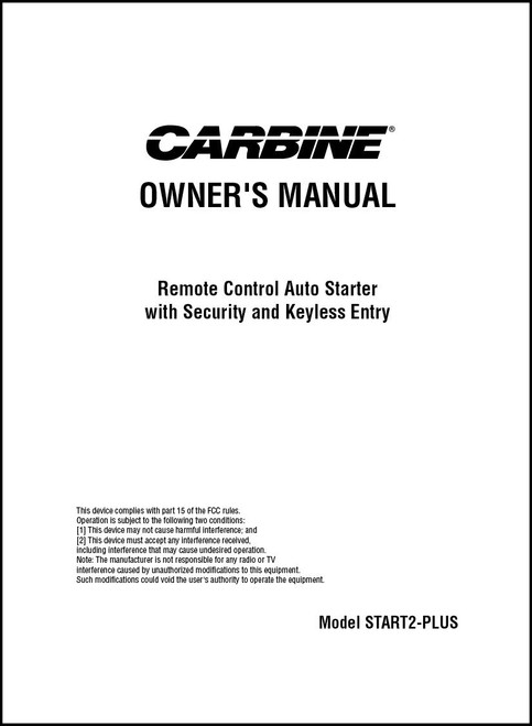 Carbine START2-PLUS | Owner's Manual