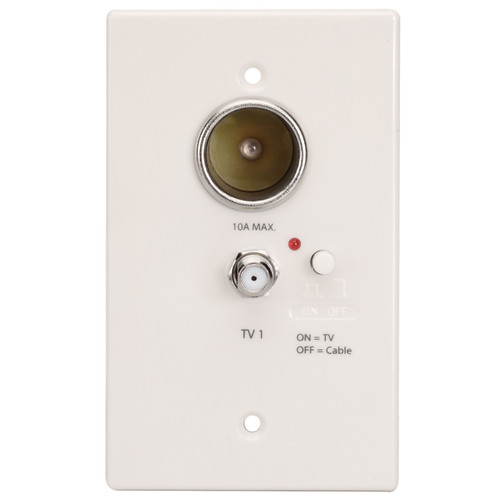 WS-W12V | 12V Power Outlet / Antenna Distribution Wall Plate (White) - Front View