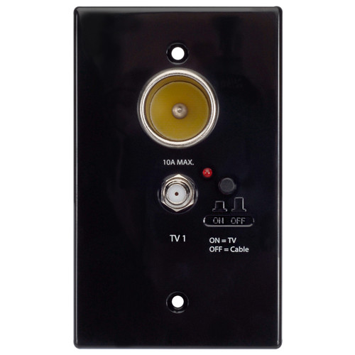 WS-B12V | 12V Power Outlet / Antenna Distribution Wall Plate (Black) - Front View