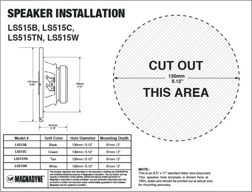 "Magnadyne LS515TN | 5-1/4"" 3-Way Speaker (Tan) - Installation Template"