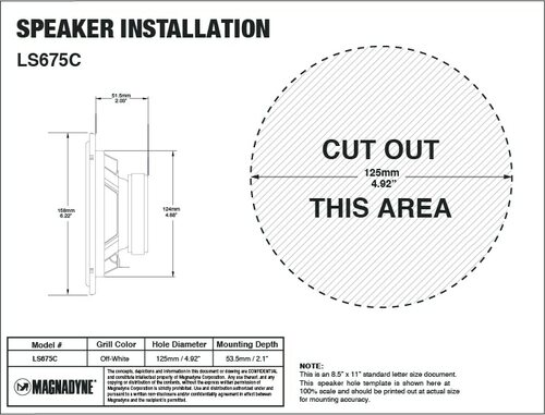 "Magnadyne LS675C | 6 1/2"" 2-Way Speaker - Installation Template"