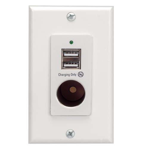 Magnadyne WC-12V-W | Wall Mount USB Charger with 2 Ports and 12V Power Outlet (White) With Plate - Front