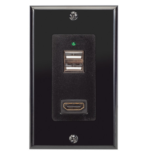 Magnadyne WC-USBHD-B | Wall Mount USB Charger with 2 Ports and HDMI Pass through Port with Wall Plate - Front