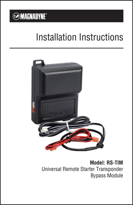 Magnadyne RS-TIM | Universal Transponder Interface Module Installation Instructions
