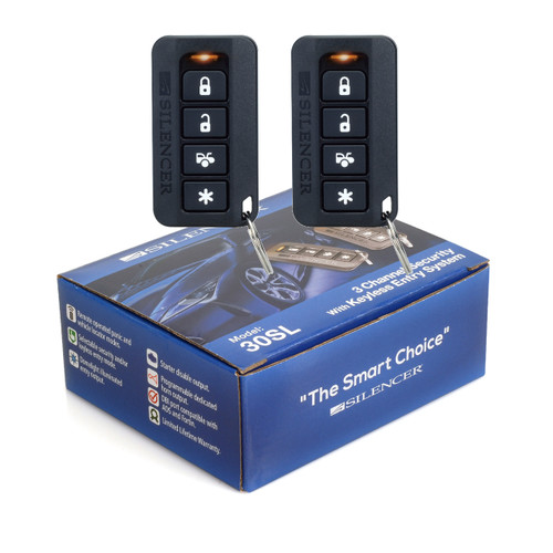 Silencer 30SL | One-Way Remote Security and Keyless Entry System  - Packaging & Remotes