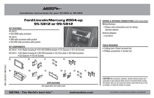 Ford/Lincoln/Mercury 2004-up 95-5812 or 99-5812