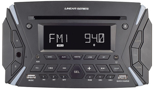 Linear Series RV6100 AM/FM/BT/DVD Rugged Style Wall Mount Multimedia Receiver - Front View