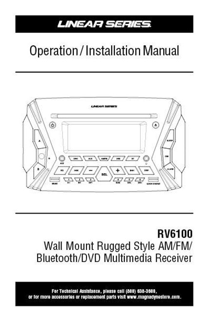 Linear Series RV6100 AM/FM/BT/DVD Rugged Style Wall Mount Multimedia Receiver