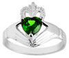 White Gold Claddagh Ladies Ring with Green Emerald CZ Stone