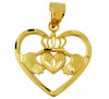 Gold Claddagh Pendant In Heart