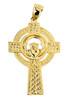 Yellow Gold Claddagh Cross Pendant