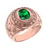 Solid Rose Gold United States Navy Men's CZ Birthstone Ring