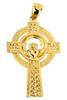Claddagh Yellow Gold Cross Pendant