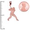 Baseball Player Sports Rose Gold Pendant Necklace