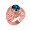 Solid Rose Gold US Coast Guard CZ Birthstone Ring