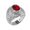 Sterling Silver US Coast Guard Men's CZ Birthstone Ring