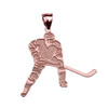 Hockey Player Sports Rose Gold Pendant Necklace