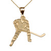 Hockey Player Sports Yellow Gold Pendant Necklace