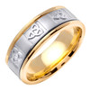 Celtic Wedding Band - Simple Trinity 14K White Gold Two Tone Ring