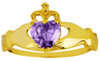 Gold Birthstone Claddagh Ring with CZ Amethyst Gemstone