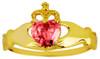Gold Claddagh Ring Pink Cubic Zirconia Gemstone