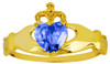 Gold Birthstone Claddagh Ring with CZ Sapphire Gemstone