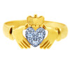 The White Heart Two Tone Gold Claddagh Ring with Diamonds