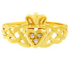 Gold Claddagh Ring with Diamonds and Trinity Band