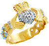 Gold 0.5ct Diamond Pave Claddagh Wedding/Engagement Ring