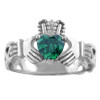 White Gold Claddagh Trinity Band with Emerald Green CZ Heart