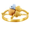 Celtic Rings - Tri Tone Gold Clover With Cubic Zirconia Ring