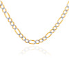 Gold Chains and Necklaces - Figaro Pave Two-Tone Gold Chain 3.5 mm