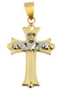 Claddagh Cross White and Yellow Gold Pendant