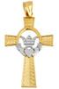 Gold Claddagh Irish Cross Pendant