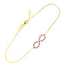 14K Gold Clear & Red CZ Infinity Bracelet