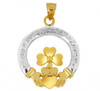 Claddagh Pendant with Clover Leaf in Two Tone Gold from CladdaghGold.com