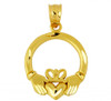Gold Claddagh Pendant with Diamond Cut Accents
