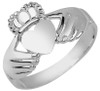 White Gold Claddagh Ring - The Irish Pure Heart for Ladies