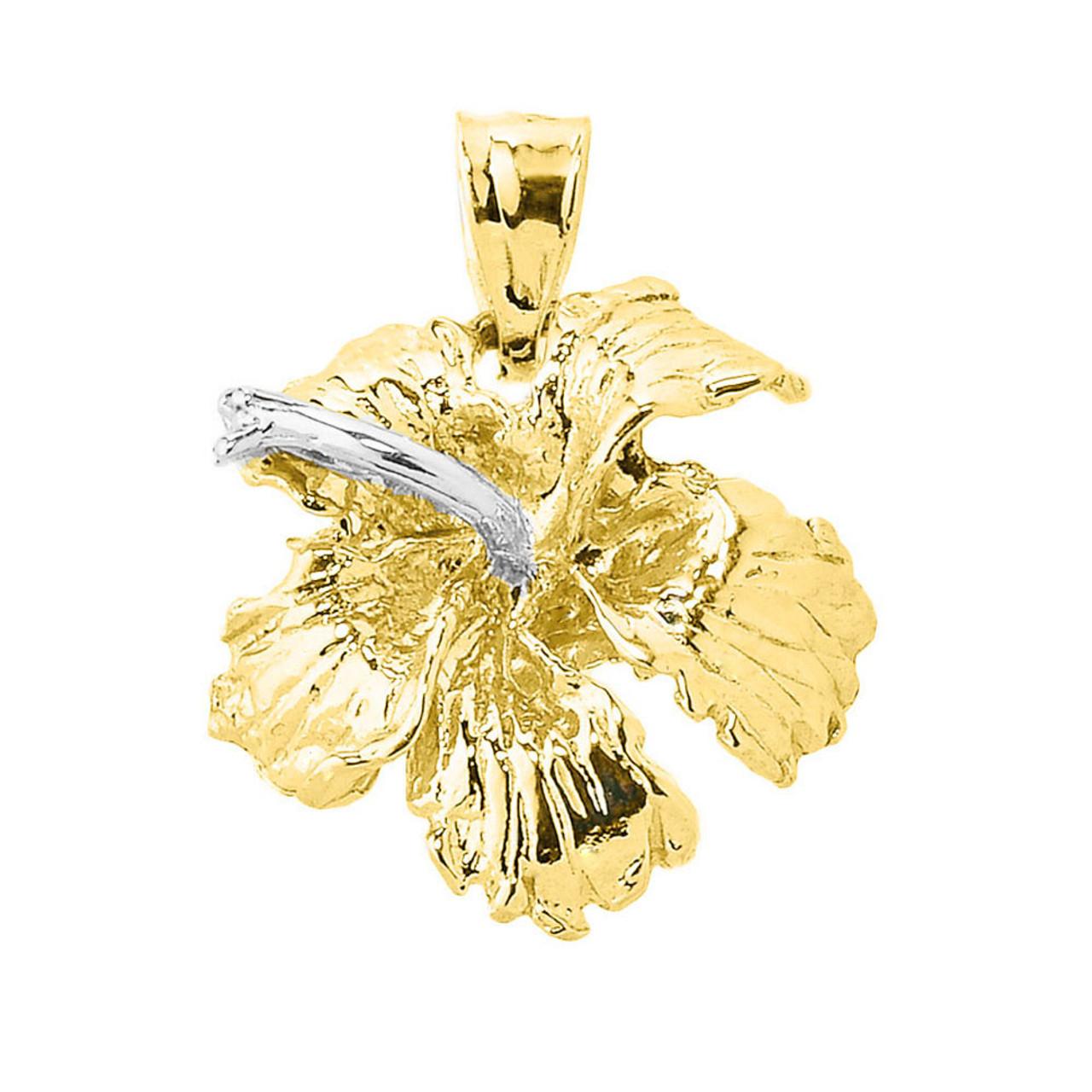 Charm Made in USA 14k Yellow Gold HAWAIIAN HIBISCUS FLOWER Pendant