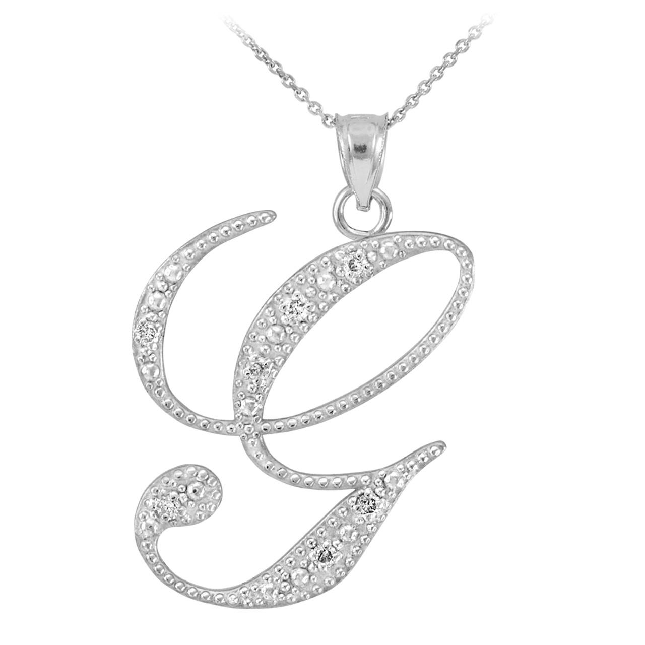 14k white gold letter script g diamond initial pendant necklace
