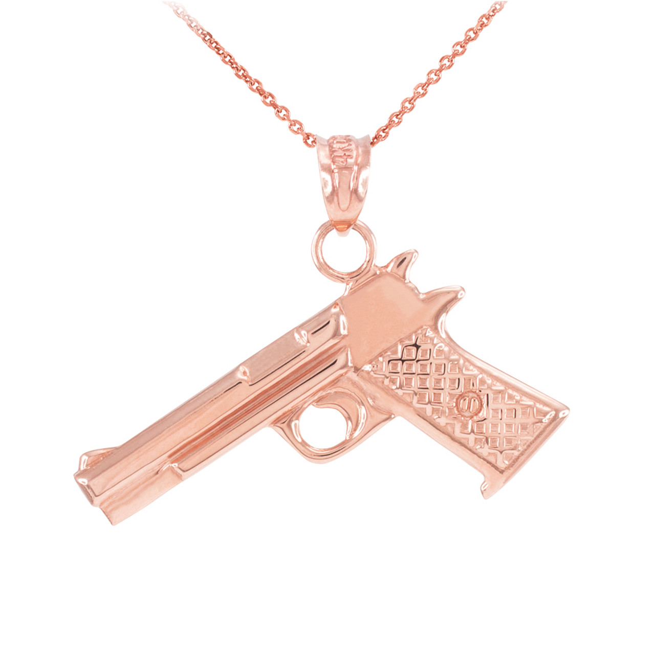 Solid Rose Gold Desert Eagle Pistol Gun Pendant Necklace